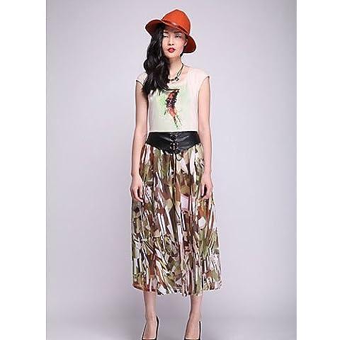 ZY color Print PU Cinturón de cuero larga falda (Mostaza) mustard-m
