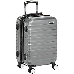 AmazonBasics Valise rigide à roulettes pivotantes de qualité supérieure avec serrure TSA intégrée, Taille cabine 55 cm, Gris