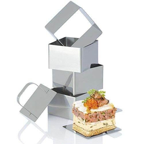 ERNESTO® Dessert- und Speiseformen-Set, 6-teilig - 4 Speiseringe, 1 Stempel, 1 Heber (quadratisch, ca. B 7,5 x L 7,5 cm)