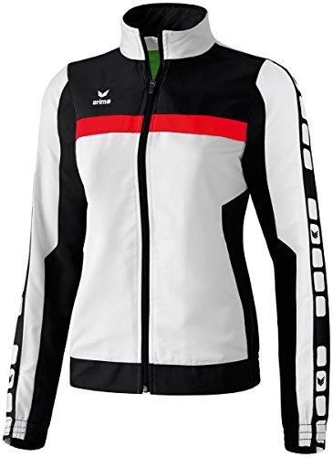 erima Damen Classic 5-C Sports-/Präsentationsjacke, weiß/schwarz/rot, 42