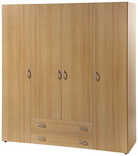 Stella Trading Base  4-türiger Kleiderschrank, Holz, buche, 52 x 160 x 177 cm - Buche Kleiderschrank