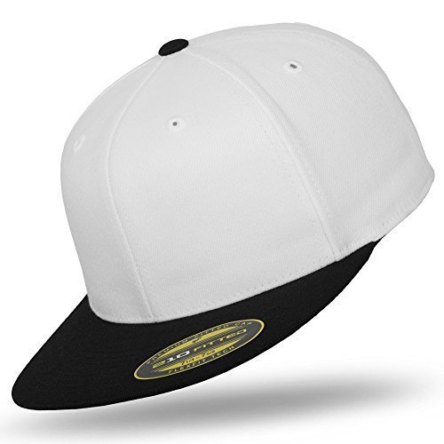 Original FLEXFIT Premium 210 Fitted Basecap in versch. Farben (S/M - bis 58 cm, White Black) (Fitted White Shirt)