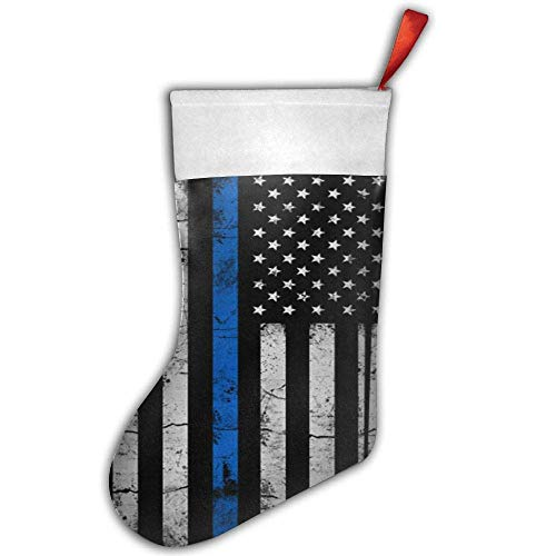 Voxpkrs Weihnachtsstrumpf Thin Blue Line American Flag Xmas Tree Decorations Santa Socks Snowman Ornaments Candy Bag - American Zebra Line