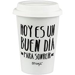 """Mr. Wonderful WOM00078 Taza take away """"Hoy es un buen día para sonreír"""", Compuesto, Multicolor, 9.4x9.25x9.4 cm"""