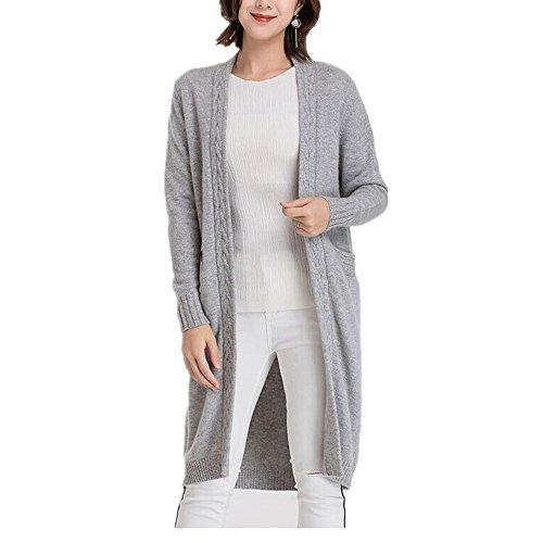 Blousons en cashmere Cardigans Femmes - Transition Printemps Été Automne Plaine Longues Manches Chaud Casual Cardigan Grigio