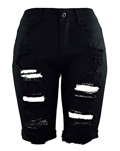 Femme Short Jeans Déchiré Pantalon Mi-Longue en Denim Taille Haute pour Été MISSMAO