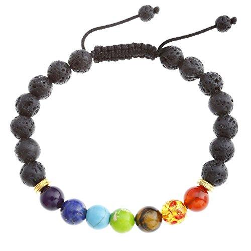 JOVIVI Bracciale Reiki di lava-Bracciale Energia terapia Yoga Bracciale 7Chakra Healing 8mm Lava Beads Buddha per geflochte Bracciale - Buddha Bead