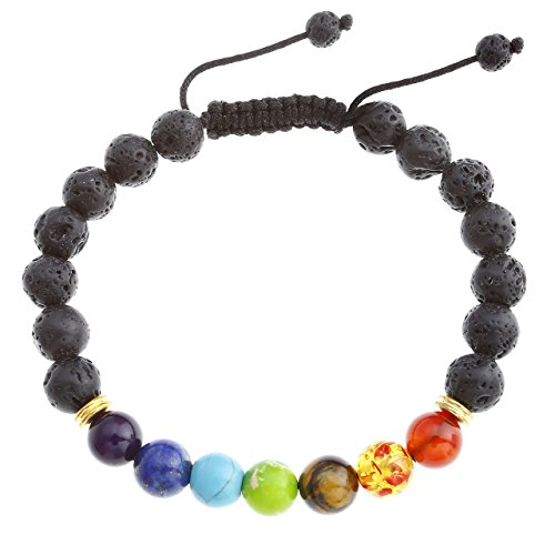 JOVIVI Lava-Armband Reiki-Energietherapie Yoga Armreif 7 Chakra Healing 8mm Lava Beads Buddha-Armband Geflochte Armband