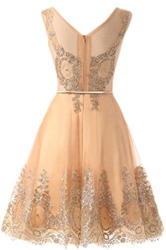 Milano Bride Damen Scheind Abendkleider Promkleid Heimkehrkleider Festkleider A-Linie Tuell Kleider Stickerei Kurz Guertel Gold