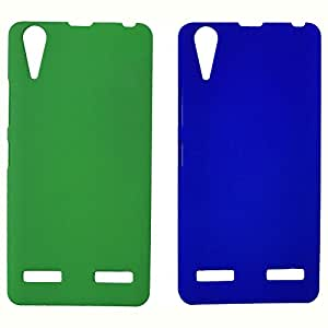 Topping Premium Rubberized Back Hard Case For Lenovo A6000 - Green & Blue(Pack of 2)