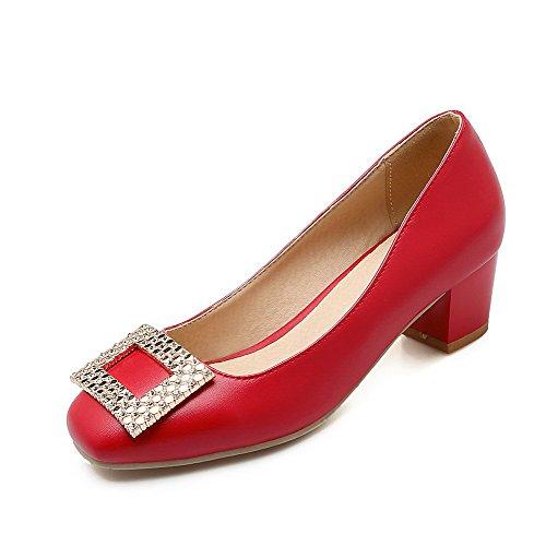 Voguezone009 Senhoras Reinziehen Em Material Macio Sapatos Dos Pés Quadrados Bombas Vermelho