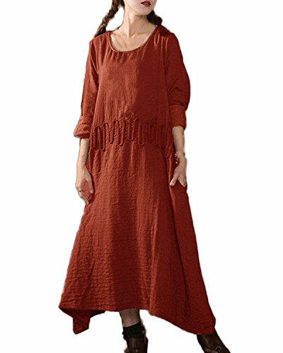 Auxo Women Vintage Retro Loose Linen Round Neck Long Sleeve Casual Irregular A-Line Maxi Dress Rust Red 2XL