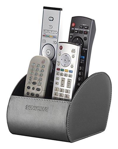 Sonorous Double Remote Holder Luxus Doppelt Fernbedienung Halter, Holz, schwarz, 15,5 x 15 x 12 cm