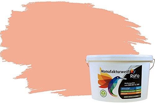 RyFo Colors Bunte Wandfarbe Manufakturweiß Pfirsichorange 10l - weitere Orange Farbtöne und Größen erhältlich, Deckkraft Klasse 1, Nassabrieb Klasse 1