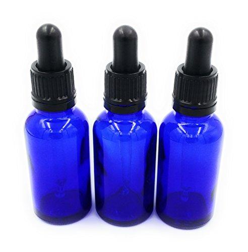 Tres 30ml Azul Botellas De Vidrio con Cuentagotas Pipetas