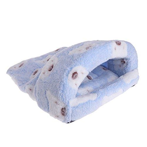 CADANIA Haustier Nest Coral Fleece Winter warmes Bett für Hamster Eichhörnchen Chinchilla House Cage - blau - M