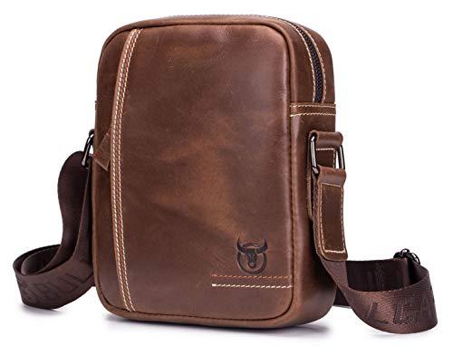 Bullcaptain uomo borsa a spalla mano uomini in pelle cuoio borsa di affari del messaggero organizer portatutto della zaino crossbody sling viaggio borsa tracolla