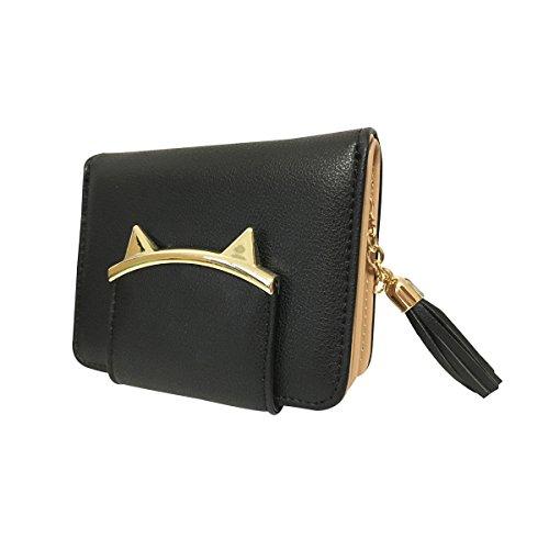 GoGou Adorable Cat Ears Münzen Geldbörse für Damen Kleine Geldbörse Geld Clip Designer Card Case (Black) (Designer-geld-clip Schwarze)