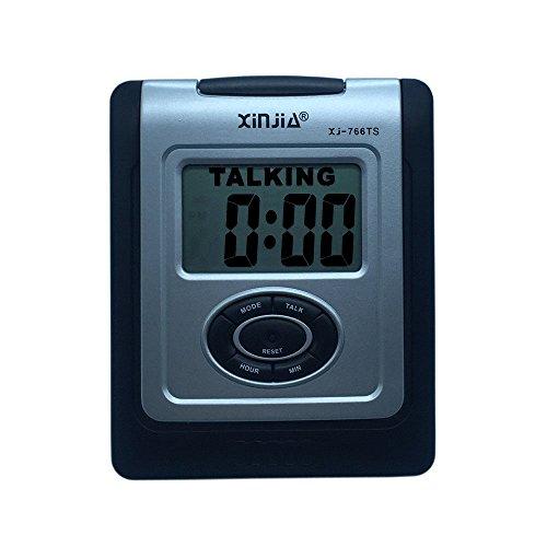 VSONE Reloj Despertador Parlante en Español, Alarma LCD con voz, Reloj Hablando Negro