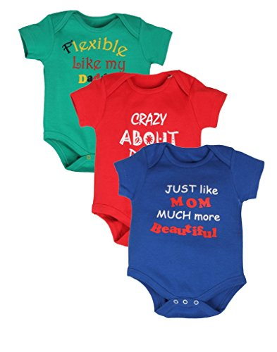 Gkidz Pack of 3 Infants Body Suit Mom and Dad...