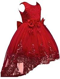 Vestido de Niña de Flores Color Sólido Vestido de Fiesta Cuello Redondo Falda Princesa Vestido de Novia Encaje…