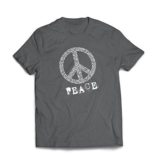 Männer T-Shirt FRIEDENSsymbol - 1960er Jahre 1970er Jahre Hippie Hippie, Street-Kleidung, Friedenszeichen, Sommer Festival Hipster Swag (Large Graphit Mehrfarben)