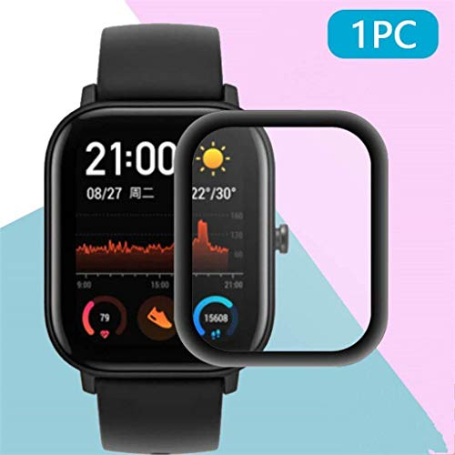 Hamee Amazfit GTS Smart Watch Screen Protector, 3D Full Coverage Waterproof Screen Guard Film for AMAZFIT GTS Screen Protector [Anti-Scratch][Anti-Fingerprint][No Bubble](with Black Border)