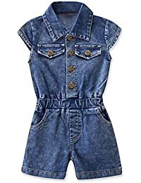 Niños niña cuello de solapa con botones Jeans mono pantalones cortos 79abb028633