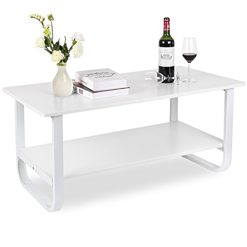 HOMFA Table Basse Salon Blanc Laque Table Salon Table Basse Rectangulaire de Salon Blanche en Bois et Métal 100*50*45cm
