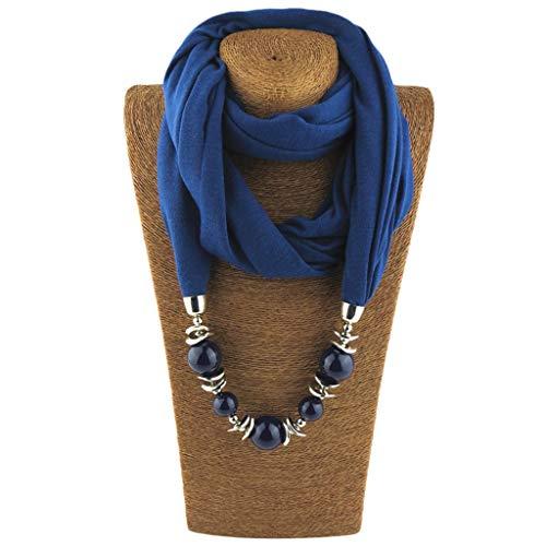 CADANIA Halstuch Ring Schal Halsketten Perlen Einfarbig Schmuck Schal Folk-Custom Style - 9# Deep Blue