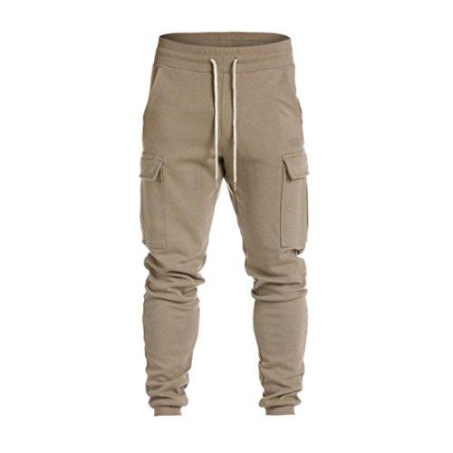 Pantaloni casual sportiva uomo feixiang ® pantalone in puro pantaloni lunghi pantaloncini morbidi allentati alla caviglia pantaloni con tasca elasticizzati in lino taglia grossa (khaki, l)
