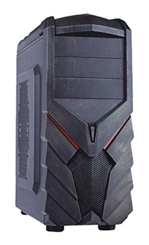 Adj F129E Case da Gaming per PC, Nero/Verde