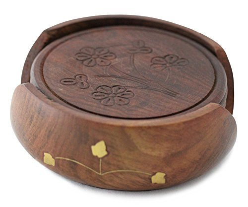 Nautical Hand Carved Wooden Drink Coasters Set of 6 in a Lotus Shaped Holder by The Indian Arts - Carved Wooden Coaster
