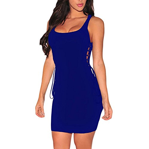 meinice a costine aperto Lace Up lati vestito Blue