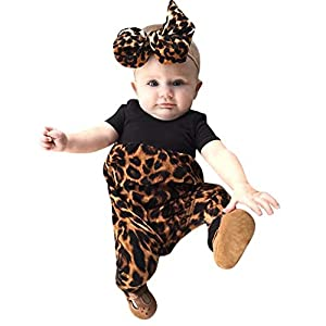 Ropa Bebe Niña Verano Fossen Recién Nacido 0 a 24 Meses Leopardo Monos de Manga Corta Y Banda de Pelo 7