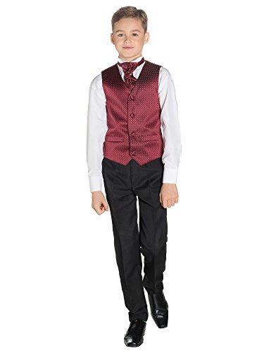 ostüm Weste Jungen, Seite Jungen folgt, Motiv Diamant, Hose schwarz, 3–6m–14Jahre Gr. 2-3 Jahre, bordeaux (Cravate Bordeaux Kostüm)
