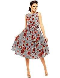 8cb3dc52d Looking Glam Vestido Retro Retro Estilo Pin up de los años 40 con Estampado  de Rosas