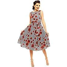 fa74f54b1b Looking Glam Vestido Retro Retro Estilo Pin up de los años 40 con Estampado  de Rosas