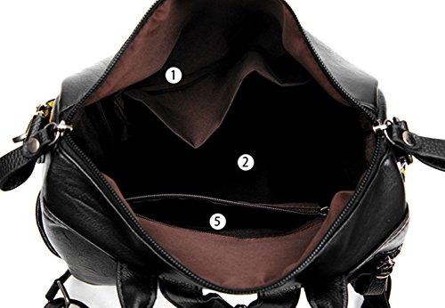 Alidier Neue Marke und Qualität Mode Schulrucksäcke/Rucksack Damen/Mädchen Vintage Schule Rucksäcke mit Moderner Streifen für Teens Jungen Studenten Schwarz