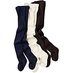 Wellyou–Leotardos para para niña, 3 pares, color único, alto porcentaje de algodón Marine, Braun, Ecru 86 cm/92 cm
