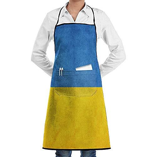 Der Kostüm Ukraine - UQ Galaxy Küchenschürze,Vintage Ukraine ehrenhafte Flagge Schürze Lace Adult Chef verstellbare Lange volle Schwarze Küche Schürzen Lätzchen mit Taschen zum Basteln Garten Backen