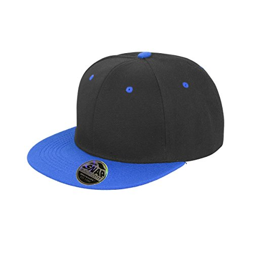 Result - Gorra/Visera Unisex Visera plana original 2 colores Modelo Bronx Core con cierre Snapback (Talla Única/Negro/ Azul celeste)