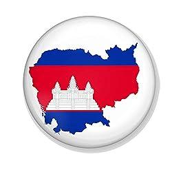 Gifts & Gadgets Co. Kambodscha-Flagge auf Kambodschanische Karte, Kühlschrankmagnet Flaschenöffner, 58 mm Durchmesser