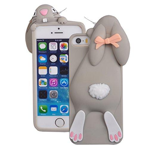 Voguecase® Per Apple iPhone 6/6s 4,7, Custodia Silicone Morbido Flessibile TPU Custodia Case Cover Protettivo Skin Caso,Completa il design del vostro Apple iPhone 6/6s 4,7 (coniglio-grigio) Con Stilo  coniglio-grigio