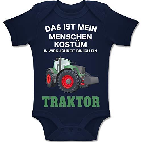Drei Mädchen Gruppe Kostüm - Shirtracer Karneval und Fasching Baby - Das ist Mein Menschen Kostüm in echt Bin ich EIN Traktor - 3-6 Monate - Navy Blau - BZ10 - Baby Body Kurzarm Jungen Mädchen