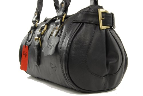 """Handtasche Leder """"Othello"""" von Gigi - Größe: B: 32,5 cm, H: 17 cm, T: 14 cm Schwarz"""