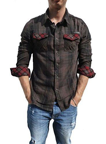 Brandit Checkshirt Duncan Camicia Uomo - cotone, marrone-nero, 100% cotone, Uomo, XXL