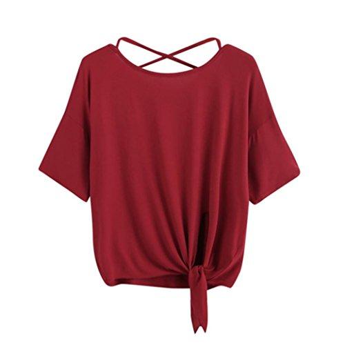ESAILQ Damen Sommer Reißverschluss Tank Crop Tops Vest Tanktops Weste Cami Oberteile T-Shirt Geburtstags Geschenk Für Frauen Mädchen Freundin(S,Rot) (Schürze Top Tank)