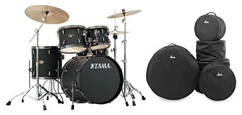 Tama IP50H6N-BBOB Imperialstar Drumkit Set inkl. Gigbags (Komplettes Drumset inkl. Hocker, Kessel aus sechslagigem Pappelholz, doppelstrebige Hardware, inkl. Meinl MCS Beckensatz & Gigbags) Blacked Out Black