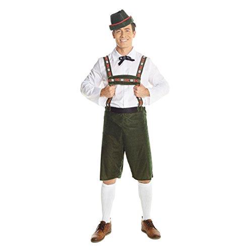 Morph Deutsche Lederhosen Kostüm für Herren Oktoberfest Bier Outfit - X-Groß (117-122 cm Brustumfang) (Outfits Deutsches Bier)